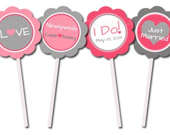 Personalized Wedding Cupcake Toppers - Pink & Gray Printable Cupcake Picks - Wedding Cupcake Decorations - Wedding Tags - Wedding Decor