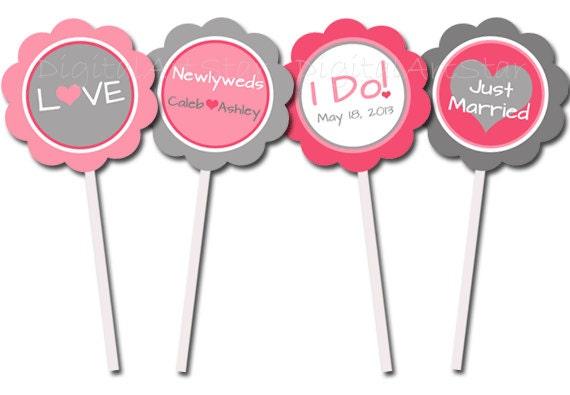 Personalized wedding cupcake toppers pink gray printable cupcake il570xn junglespirit Choice Image
