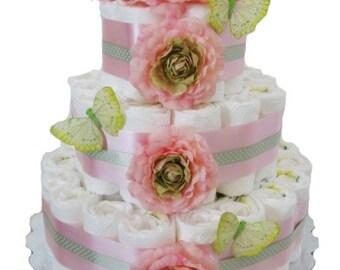 Garden Delight Diaper Cake 3 Tier/ Baby Shower Gift and New Baby Gift