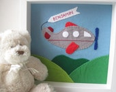 Nursery Decor, Felt Airplane Picture, Children's Wall Art, Personalised Picture