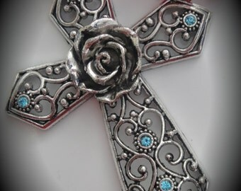 Huge Genuine Silver Plated Swarovski Crystal Cross Pendant in Aquamaine
