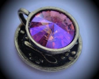 Genuine Swarovski Crsytal Tea Cup Rivoli In Rose Glacier Blue Pendant