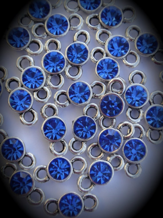 Sapphire Genuine Silver Plated Swarovski Crystal Connectors Link T200