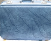 "Blue Marble Vinyl Over Night Case with Key - 20"" x14"""
