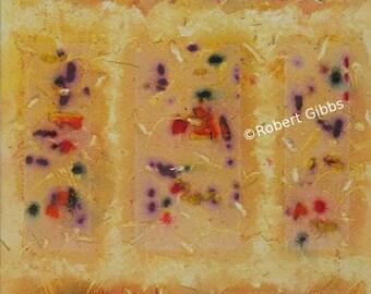 Geometric Abstract Painting, Original Artwork, Abstract Art, Modern Wall Art, Orange, Golden Yellow, Collective