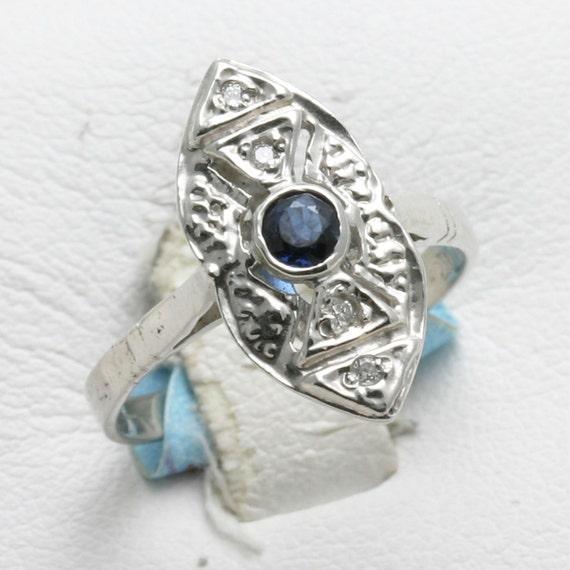 Vintage 14k white gold Sapphire Diamond Ring Victorian Long Blue