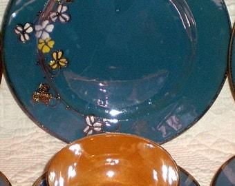 Handpainted Blue and Peach Lusterware