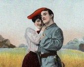 Antique UNUSED Romantic Couple Tinted Real Photo Postcard Early 1900s