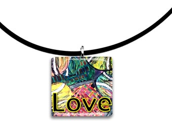 All you need is Love, Tennis pendant, wearable artwork, Abstract art, modern