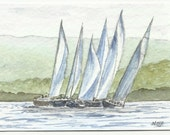 ACEO - The Race is On II - Original watercolour painting of yachts and sailing.