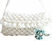 White Clutch- Crochet clutch- Free Shipping-White- Handmade- Bride Fashion- Wedding, Bride handbag- Mini bag- Silvery white- Pearl handle
