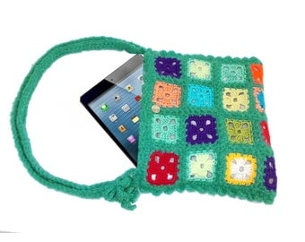 Crochet Ipad handbag, technological bag, FREE SHIPPING, Gypsy style, Tablet bag, Ipad bag, Square pattern, Crochet granny square bag