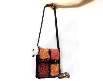 Knitted Messenger bag, Back to school bag, Orange, Multicolor, Black Cable, Tablet bag, Ipad bag, Shoulder, Purse