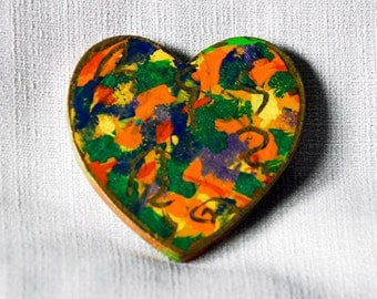 OOAK Folk Art Heart Fridge Magnet