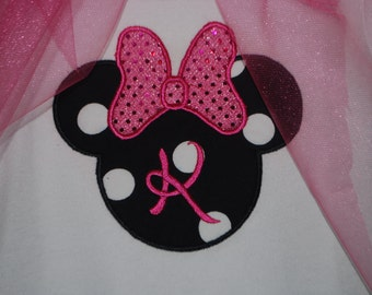 Girls Minnie Mouse Applique -Bodysuit or Boutique shirt! CUSTOM with name or initial!