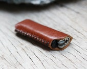 HIP/ branch brown genuine cow Leather Lighter Case