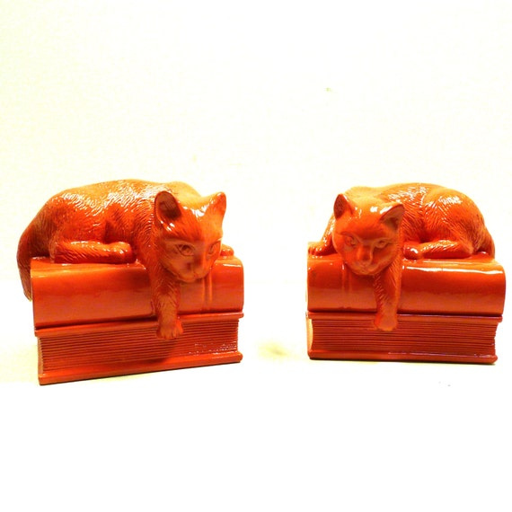 Coral Cat Bookends Bookend Home Accessories Cat Decor