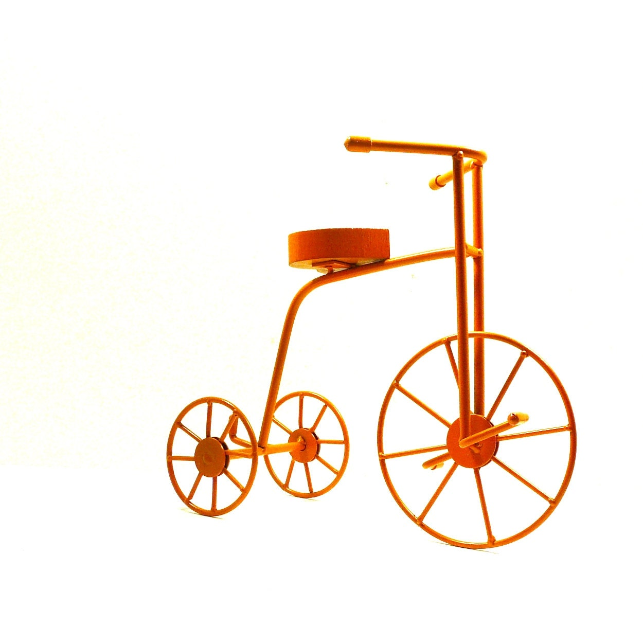 Metal bicycle frame orange mod decor home accessories by for Bicycle decorations home