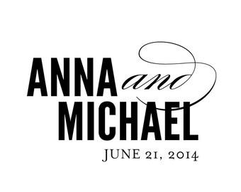 Classic Script Wedding Logo - DIY, Elegant, Modern, Black, White