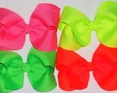 SALE-Neon Hair Bow Set 4 Girls Neon Bows Neon Boutique Hair Bows Neon Pink Bow Neon Yellow Bow Neon Orange Bow Neon Green Neon Softball Bow