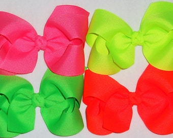 Neon Hair Bow Girls Neon Bow Neon Hair Clip Neon Boutique Bow Neon Pink Bow Neon Yellow Bow Neon Orange Bow Neon Green Bow Neon Softball Bow