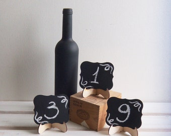 3 CHALKBOARDS with STAND Wedding Table Numbers  Wedding Table Decor, Mini Scroll Table Numbers, Gift Tags, Favor Tags
