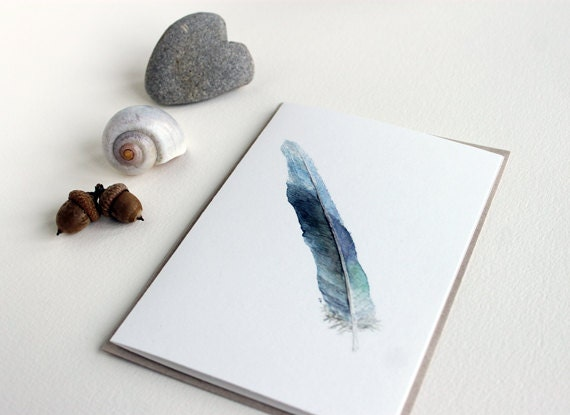 Blue Feather Note Card, Watercolor Painting, Feather Card, Nature Notecard, Set of Five Art Cards, Blue, Green, Purple, Grey, Cream