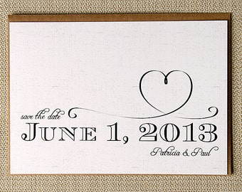 Save the Date- Patricia Heart, Typography, Black and White