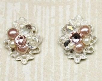 Blush Stud Earrings- Pearl Bridal earrings- Vintage Inspired Earrings- Blush & Rhinestone Studs- Pearl Wedding Earrings- Blush Post Earrings