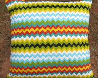 """Multi color Chevron Pillow Cover 16"""" sq- Decorative pillow cover chevron print -18"""" x 18"""" Throw pillow or bigger-"""