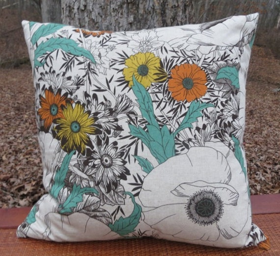 Extra Large Decorative Pillows : Items similar to Floral Printed Decorative Pillow Cover- Extra Large Throw Pillow - 22