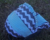 Grey Chevron Stripe blue minky baby car seat cover infant seat cover slip cover Graco fit or evenflo