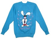 SALE- Vintage 1985 Blue Jim Benton PARTY TIME Bunny Sweatshirt- Size S