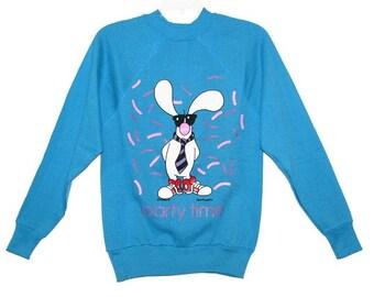 SALE- Vintage 1985 Blue Jim Benton PARTY TIME Bunny Sweatshirt- Size S