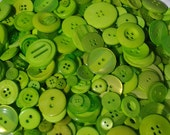 """25 Mixed Lime Green Buttons, multi sizes 1/8"""" up to 1.5"""""""