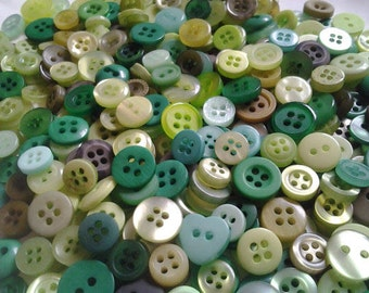 """50 Small Assorted Green Buttons - olive green, grass green, spring green, dark green and more, no shanks, sizes 1/4"""" to 5/8"""""""