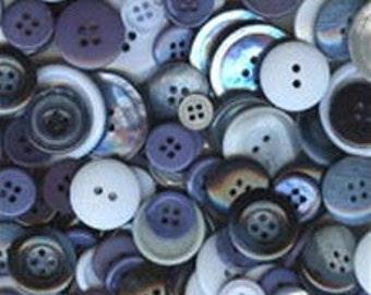 150 Medium and Small Ocean Mix Buttons - Black, White, Grey, Dark Blue, Marine Blue, Sky Blue, Aqua Blue, Bright Blue & more