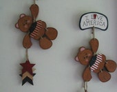 I Love America Wall/Door Decor with a Bear, Stars, Prim, Red, White and Blue, Stained, Americana