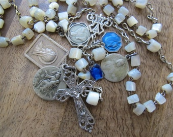 Vintage French Mother of Pearl Rosary Necklace with Enamel Medals