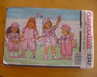 1991 Butterick Busybodies Pattern 5347, Toddler Dress, Jumpsuit, Hat, Size 1-2-3, Uncut