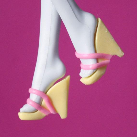 Monster High custom doll shoes: Fluttershy wedges