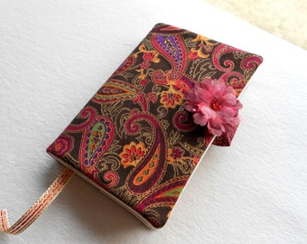 Caramel brown red paisley cotton paperback book cover with bookmark, cloth fabric case, reusable washable ecofriendly, purse tote holder
