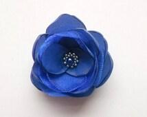 Small Royal Blue Flower, Bridesmaids hair dress shoe accessory, Hair clip, Shoe clip, Brooch, Flower girls gift, Birthday Prom Wedding Groom