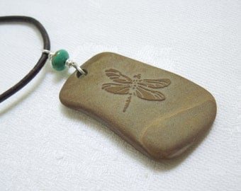 Dragonfly Pendant Necklace: Etched Beach Stone and Turquoise- December Birthstone