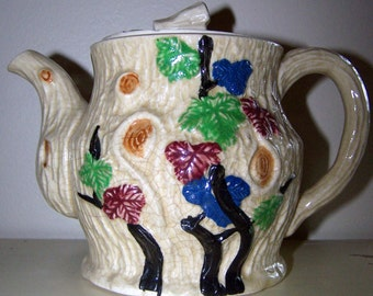Vintage Cream and Floral Ceramic Teapot Japan