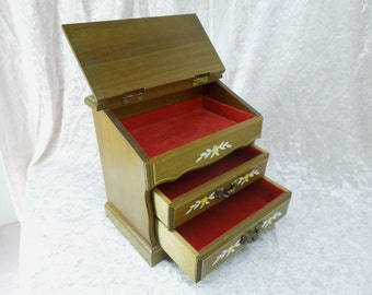 Vintage Jewelry Box Wooden with Lift Lid and Painted Design Made in Japan