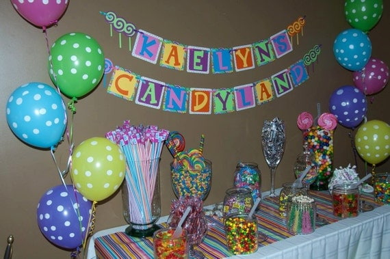 Birthday party sign, banner, decoration Candyland and other themes - personalized