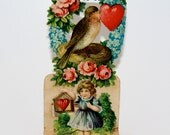 Antique Valentine 3D Stand Up Card Girl Bird Germany