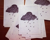 Stargazer cloud, raining stars pencil illustration // postcard