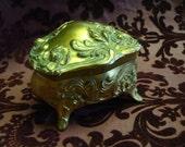 Art Nouveau Jewelry Casket Brainard & Wilson Excellent Gold Gilt Silk